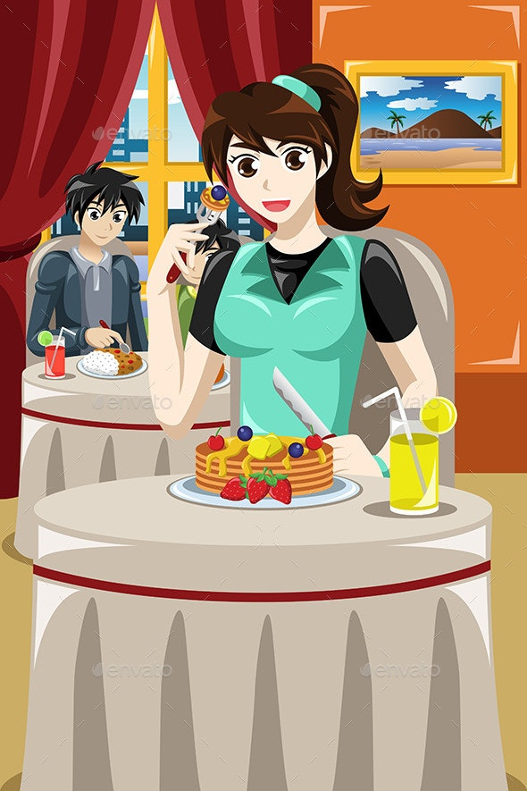Woman Eating Fruit Pancakes - People Characters