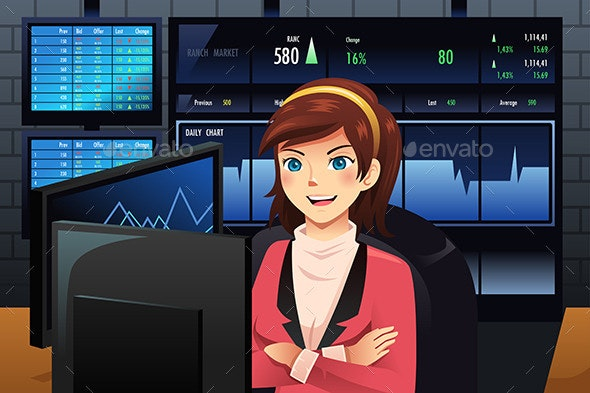 Stock Trader in Front of Multiple Monitors - Business Conceptual