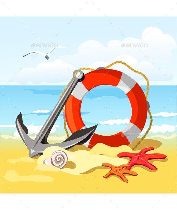 Beach Anchor Lifebuoy and Starfish - Vectors