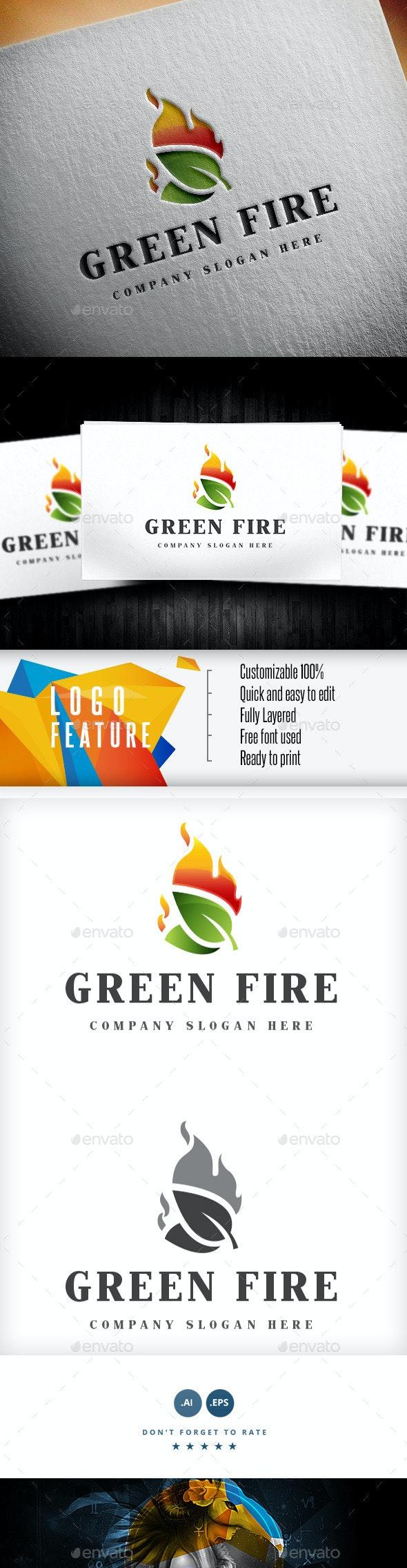 Green Fire Logo - Logo Templates
