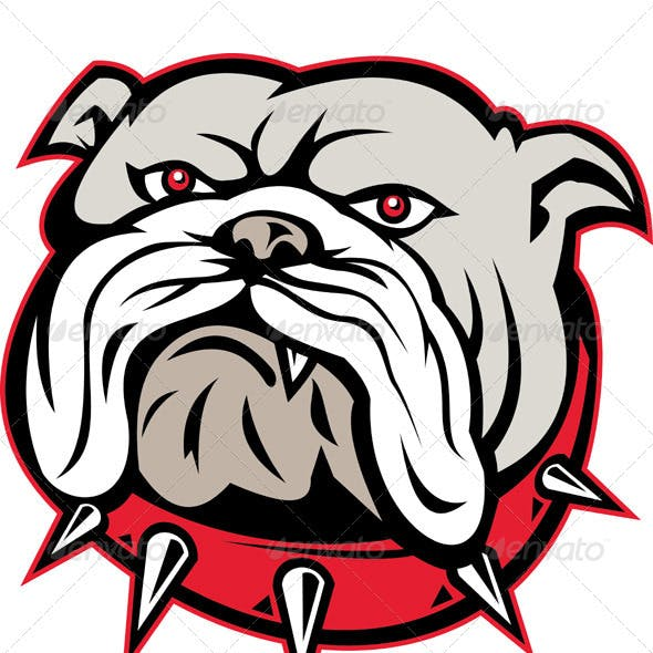 Angry Bulldog Dog Head Mascot