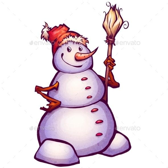 Snowman with Broom - Christmas Seasons/Holidays