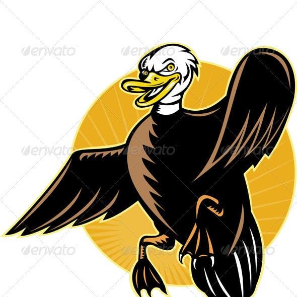 Angry Cartoon Mallard Duck Flying Front
