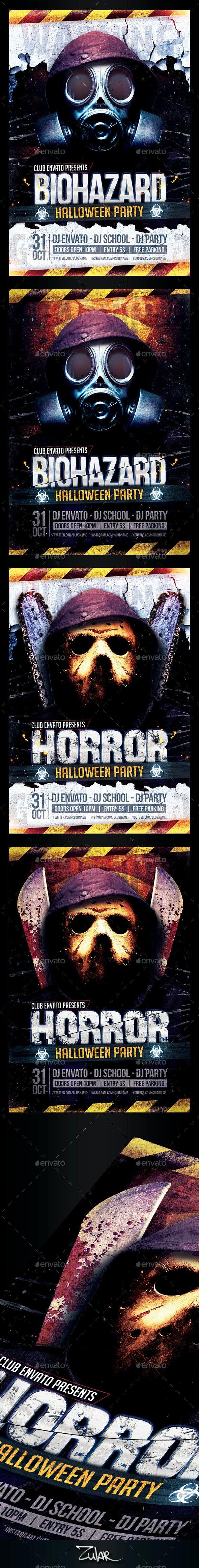 Horror & Biohazard Halloween Party Flyers - Events Flyers