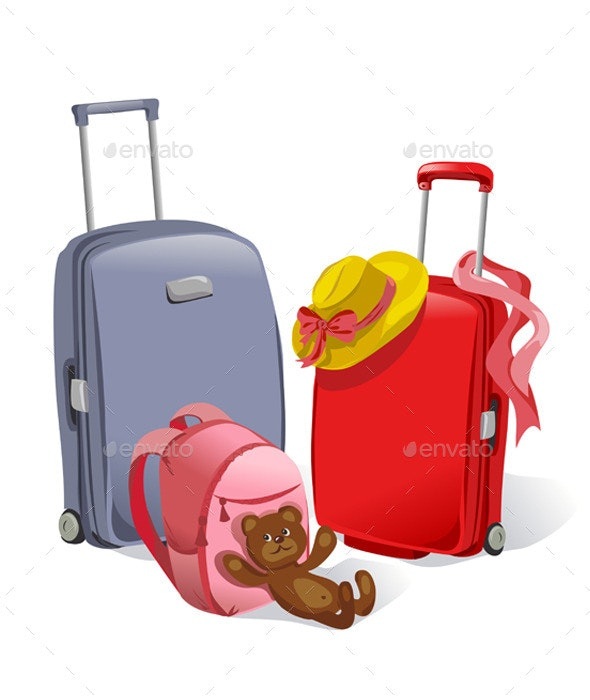 Two Suitcases and Childrens Backpack - Travel Conceptual