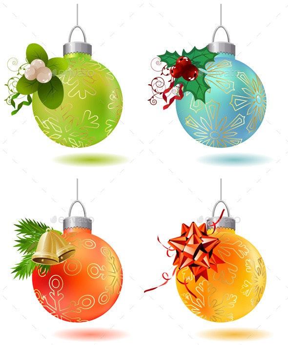 Different Christmas Glass Balls - Christmas Seasons/Holidays