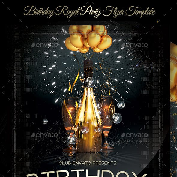 Birthday Royal Party Flyer Template