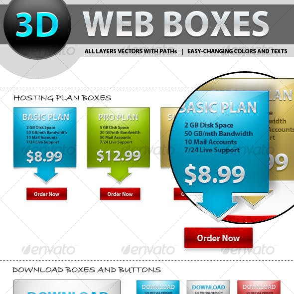 3D Web Boxes and Buttons