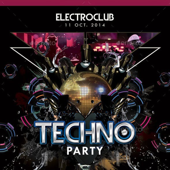 Abstract Electro Techno Party Night With Dj