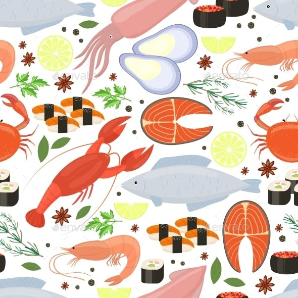 Seafood and Spices Background