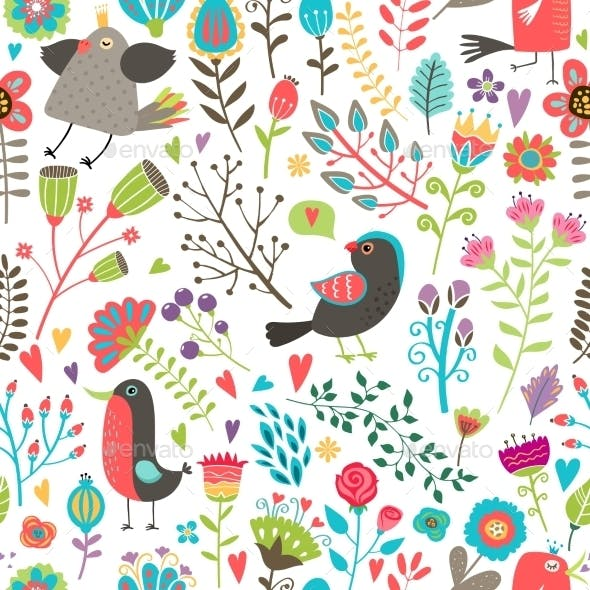 Hand-Drawn Birds and Flowers Seamless Pattern
