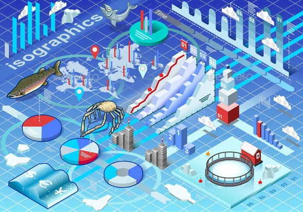 Isometric Infographic Ice Fishing Set - Concepts Business