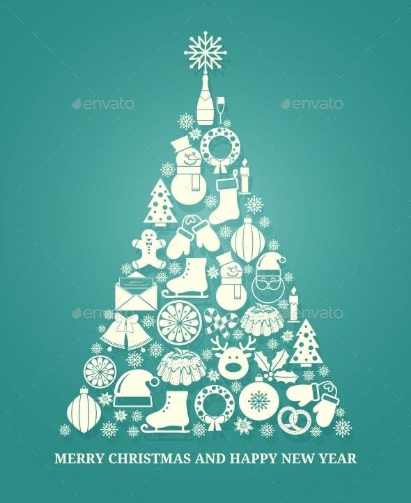 Christmas Greeting Card with a Tree - Christmas Seasons/Holidays