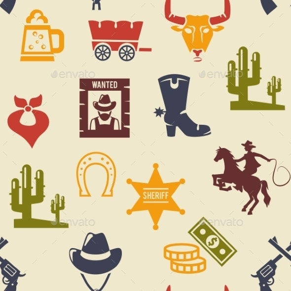 Western and Rodeo Seamless Background Pattern - Miscellaneous Vectors
