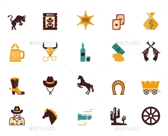 Large set of Western flat vector icons - Miscellaneous Vectors