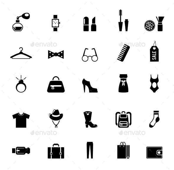 Assortment of Black Clothing and Accessory Icons - Miscellaneous Vectors