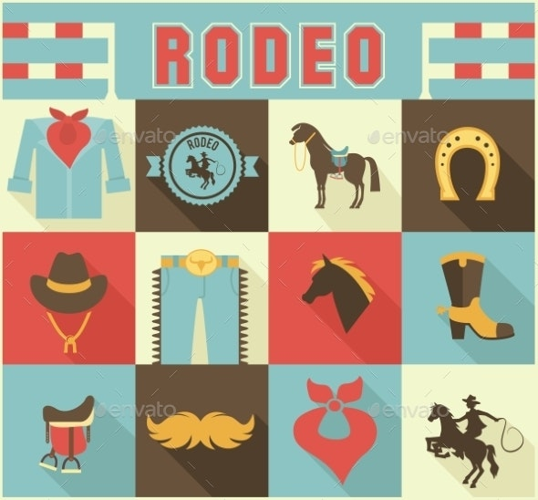 Assortment of Rodeo Themed Icons - Sports/Activity Conceptual
