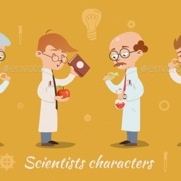 Set of Four Scientist Characters