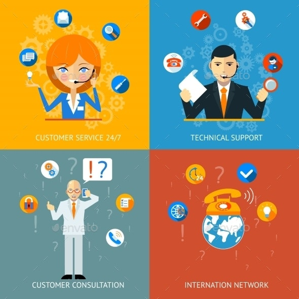 Technical Support and Customer Service Icons - Miscellaneous Vectors