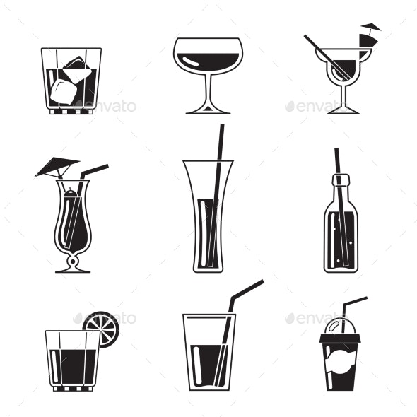 Assortment of Black Cocktail Icons - Miscellaneous Vectors
