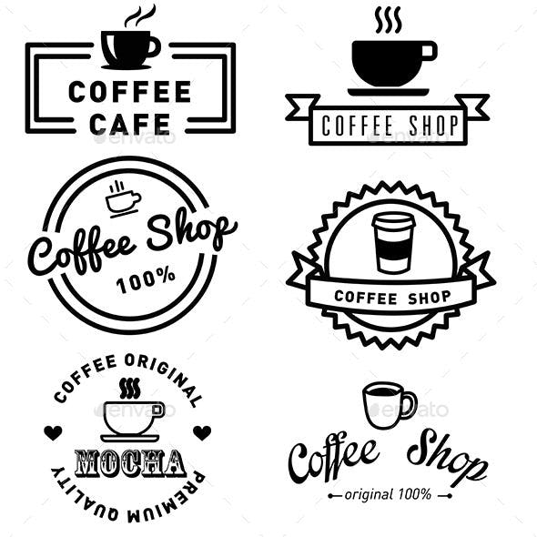 Set of Banner Label Coffee Designs