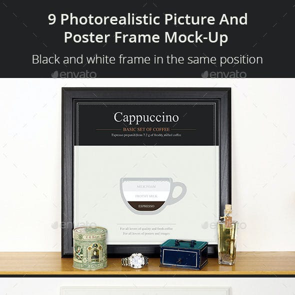 9 Photorealistic Picture and Poster Frame Mock-Up