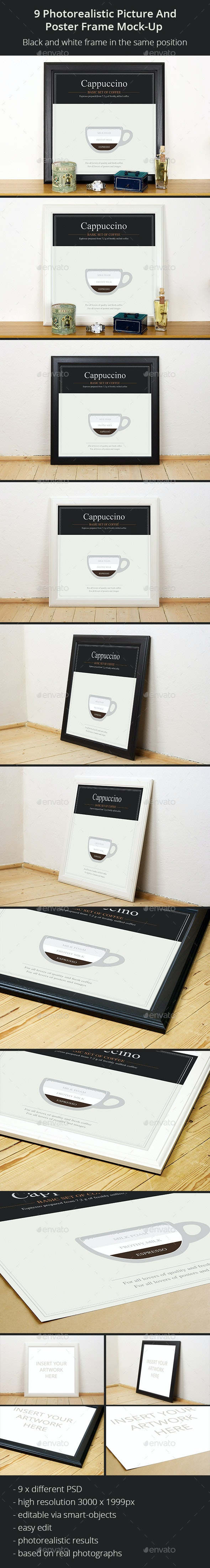 9 Photorealistic Picture and Poster Frame Mock-Up  - Posters Print