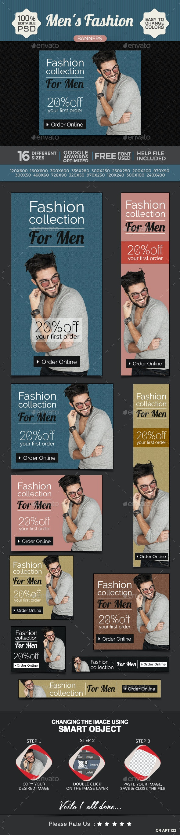 Fashion for Men Banners - Banners & Ads Web Elements