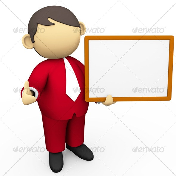 Business Character - Holding White Board - 3D Backgrounds