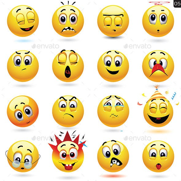Set of Smileys with Different Face Expression