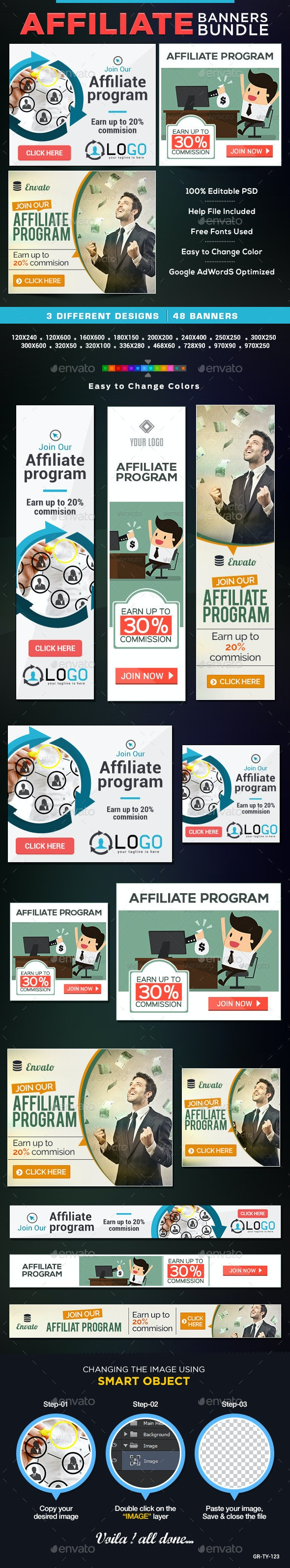 Affiliate Program Banners Bundle-3 Sets - Banners & Ads Web Elements