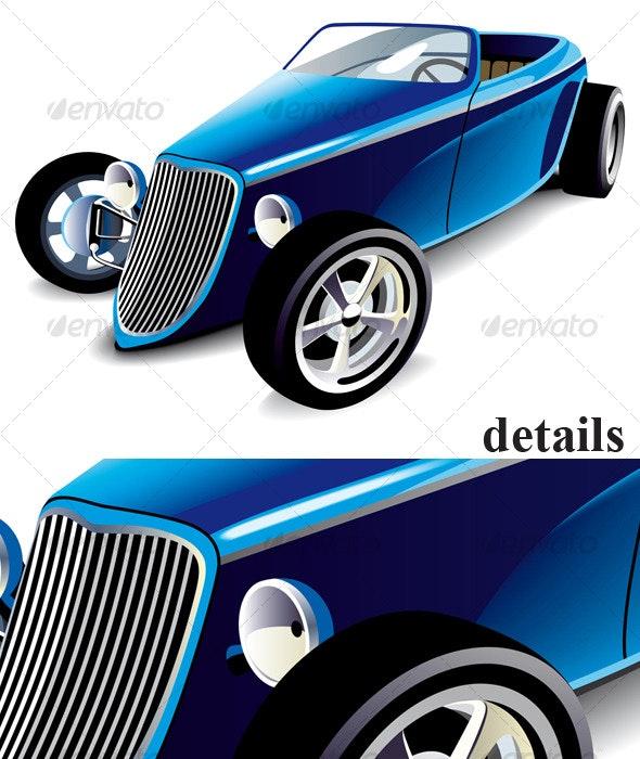 Blue Hot Rod - Objects Vectors
