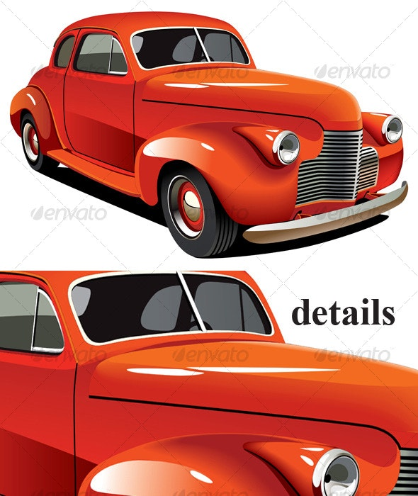 Red old-fashioned hot rod - Objects Vectors