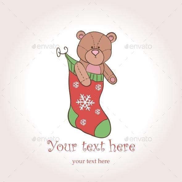 Vector Christmas Card. Teddy Bear in the Sock - Christmas Seasons/Holidays