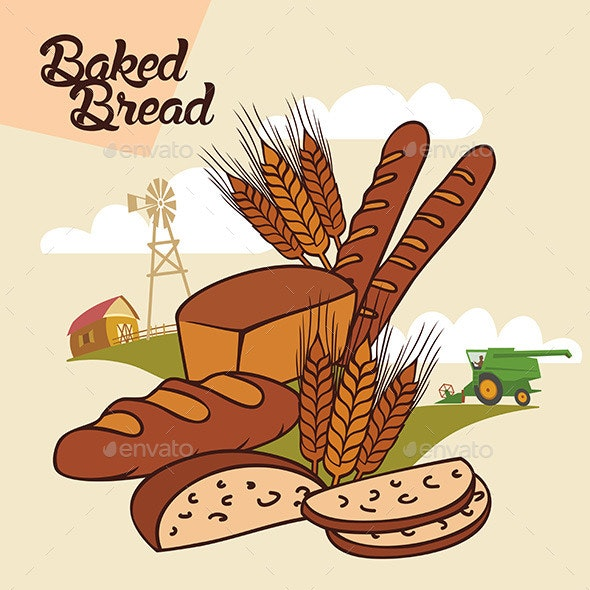 Baked Bread Advertising Illustration - Food Objects