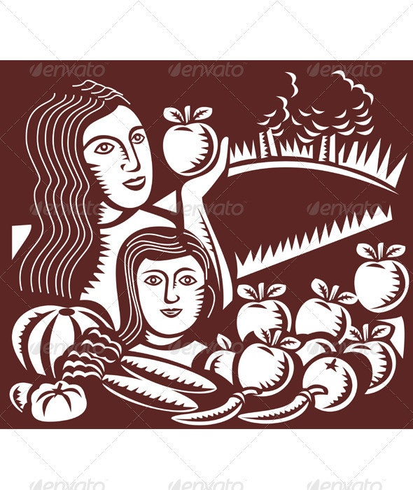 Mother And Child Holding Apple With Harvest - Industries Business