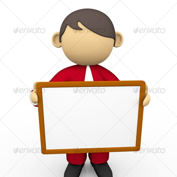 Business Character with White Board