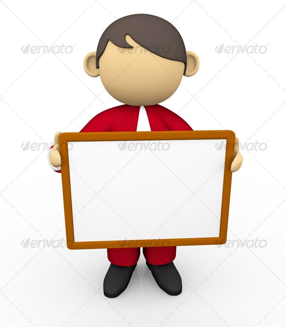 Business Character with White Board - 3D Backgrounds
