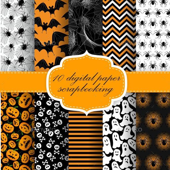 Halloween Digital Paper - Patterns Decorative