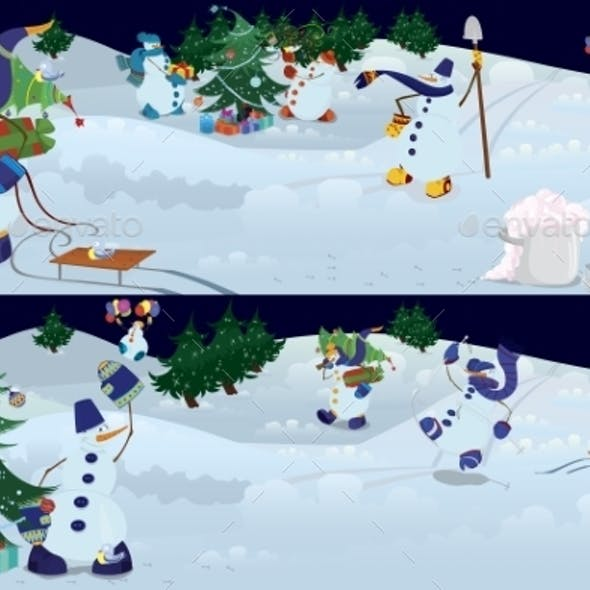 Snowmen Living in Magic Forest