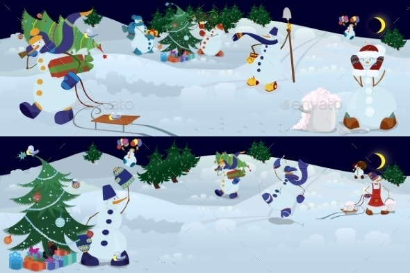 Snowmen Living in Magic Forest   - Christmas Seasons/Holidays