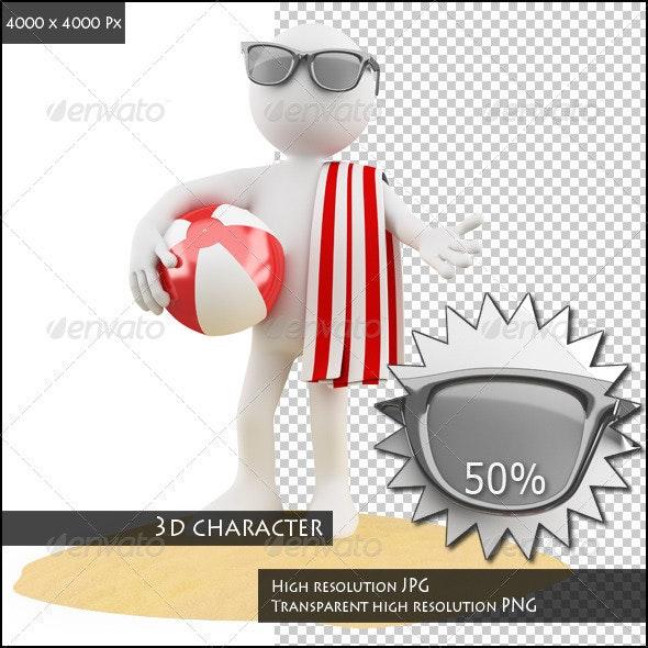 Seasons. Summer. Man on the Beach - Characters 3D Renders