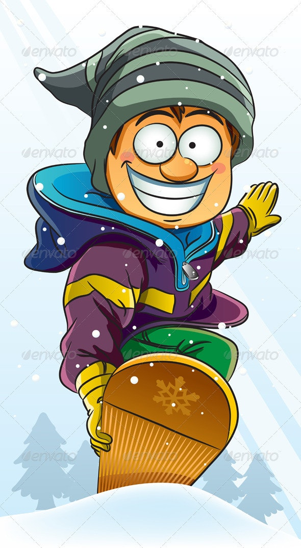 Boy Playing Snowboard - People Characters