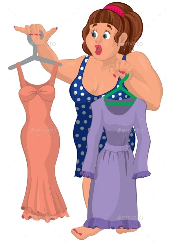 Cartoon Overweight Young Woman Holding Dresses - People Characters