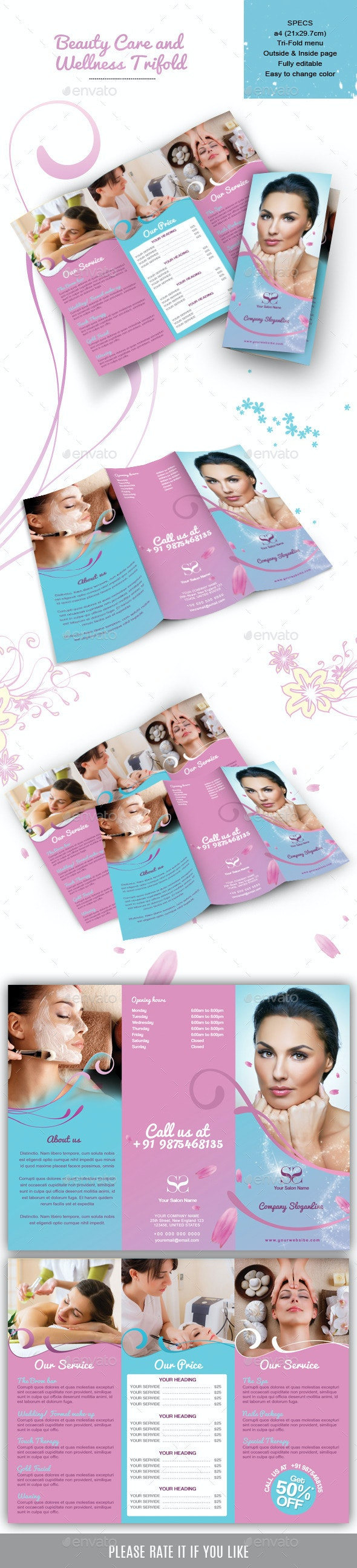 Beauty Care and  Wellness Trifold  - Catalogs Brochures