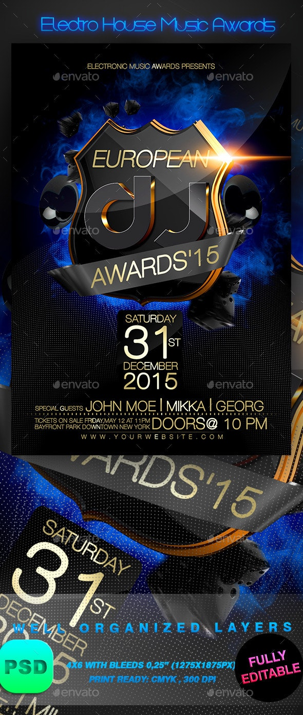 Electro House Music Awards - Events Flyers