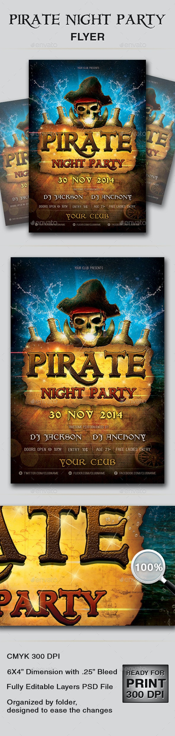 Pirate Night Party Flyer - Events Flyers