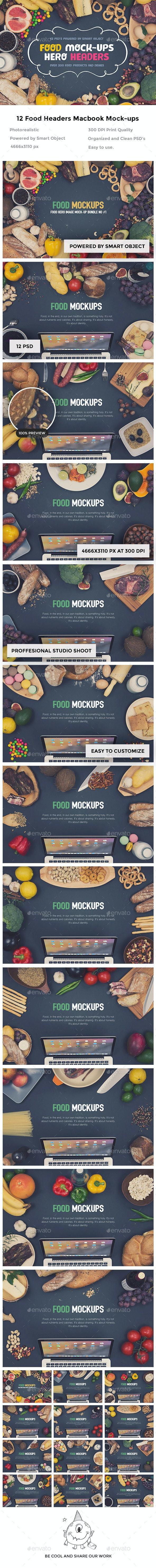 Food Hero Headers Macbook Mock-ups - Hero Images Graphics