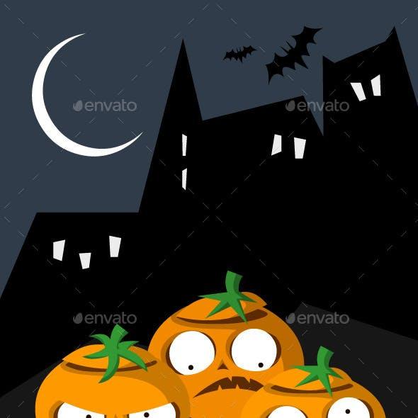 Set of 3 Pumpkins and a Postcard