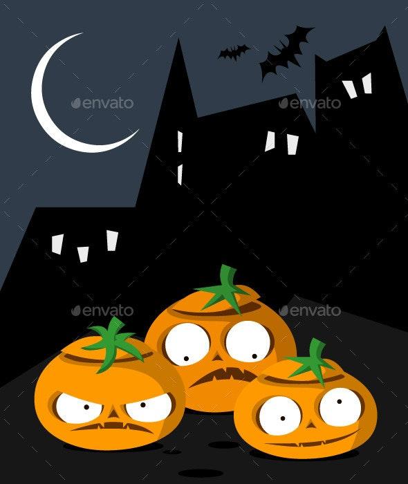 Set of 3 Pumpkins and a Postcard - Halloween Seasons/Holidays